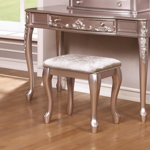 0001KCH Metallic Lilac Stool w/ Cabriole Legs  - Finish: Metallic Lilac w/ Metallic Lilac Leatherette<br><br>Available in White w/ Pink Leatherette<br><br>Dimensions: 19W  x 13.5D  x 18.5H