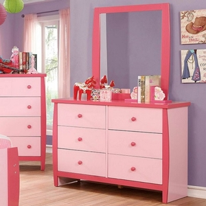 001DR Two Tone 6 Drawer Dresser - Color/Finish: Pink<br><br>Dimensions: 48