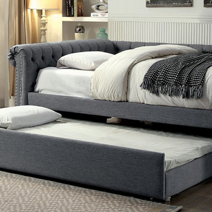 002DB Full Upholstered Daybed w/ Trundle in Gray - Finish: Gray<br><br>Available in Beige<br><br>Available in Twin Size or Queen Size Daybed<br><br>Slat Kit Included<br><br>Dimensions: 96 3/4