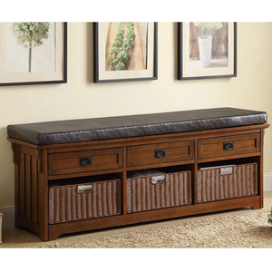 002SB Storage Bench - Finish: Brown<br><br>Upholstery: Leatherette<br><br>Leg Finish<br><br>Medium Brown<br><br>Dimensions: 60W x 15.25D x 23H