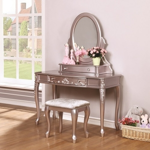 002V Metallic Lilac Vanity Desk - Finish: Metallic Lilac<br><br>Available in White<br><br>Vanity Stool & Mirror Sold Separately<br><br>Dimensions: 47.5W  x  19.25D  x  30H
