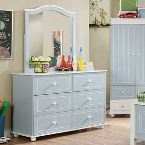 003M Blue with White Trim Mirror - Finish: Blue/White<br><br>Dresser Sold Separately<br><br>Dimensions: 30