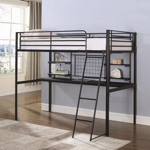 003MLB Metal Loft Bed in Black - Finish: Black<br><br>Available in Silver<br><br>Slat Kit Included<br><br>Dimensions: 78
