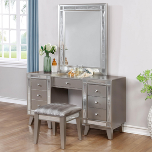 003V Vanity Desk w/ Stool - Finish: Mercury Metallic/Metallic Leatherette<br><br>Dimensions: 55W  x 16.5D x 30.75H