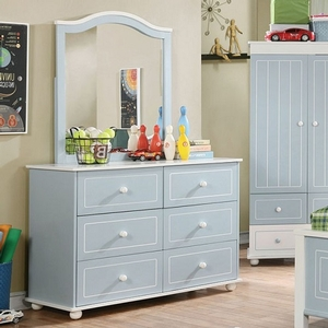 004DR Cottage Style 6 Drawer Dresser - Finish: Blue/White<br><br>Dimensions: 44