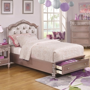 0055T Diamond Tufted Twin Bed w/ Storage - Finish: Metallic Lilac w/ Metallic Lilac Leatherette<br><br>Available in White Finish<br><br>Available in Full Size<br><br>Dimensions: 43.75W  x  80D  x  52.75H