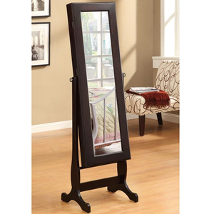 005CM Casual Jewelry Mirror Cheval - Dual purpose cheval mirror and jewelry armoire<br><br>Plenty of shelves and a small drawer<br><br>Dark green felt-lining inside<br><br>4