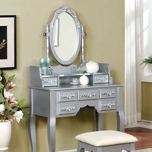 005V Vanity Set w/ Floral Accents in Silver - Finish: Silver<br><br>Available in White or Rose Gold Finish<br><br>