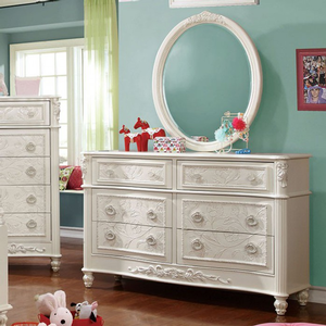 006M Antique Style Mirror - Finish: Off-White<br><br>*Dresser Sold Separately<br><br>Dimensions: 29 3/4