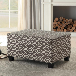 006SB Lift-Top Storage Cocktail Ottoman - Finish: Brown/White<br><br>Available in Blue/White<br><br>Dimensions: 36 x 26 x 19.5H