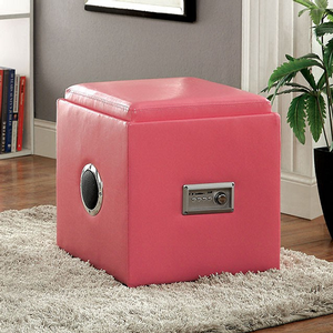 007SB Storage Ottoman w/ Bluetooth Speakers - Finish: Pink<br><br>Available in White, Green, Blue, Black & Red Finish<br><br>Dimensions: 16 1/4W x 16 1/4