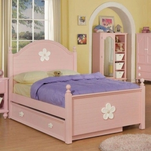 0914FB Pink Floral Full Bed  - Finish: Pink / White Flower<br><br>Available in Twin Size<br><br>Box Spring Required<br><br>*Trundle Sold Separately*<br><br>Dimensions: 81