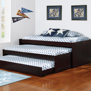 007DB Triple Twin Daybed - Finish: Cappuccino<br><br>Slat Kits Included<br><br>Dimensions: 80.50