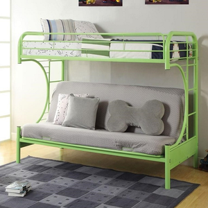 0089MBB Twin/Full Futon in Green - Finish: Green<br><br>Available in Yellow, Red, White, Black, Blue, Silver & Purple Finish<br><br>Available in Twin XL/Queen Futon Bunk Bed<br><br>Dimensions: 78