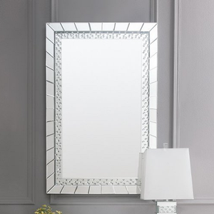 008M Sparkling Mirror in Silver - Finish: Silver<br><br>Desk & Stool Sold Separately<br><br>Dimensions: 32