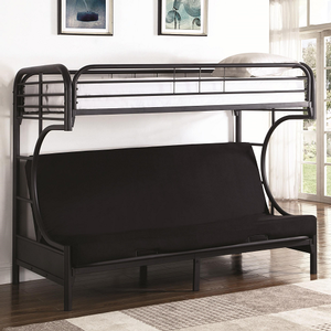 008TFB Twin/Futon Bunk Bed - Finish: Black<br><br>Available in White<br><br>Slat Kit Included<br><br>Dimensions: 78.75