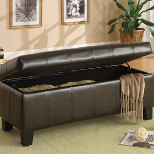 008SB Lift-Top Storage Bench in Dark Brown - Finish: Dark Brown<br><br>Available in Floral, Leopard, Chocolate Corduroy, Red, Taupe or Purple Bi-case Vinyl<br><br>Dimensions: 43 x 17 x 18
