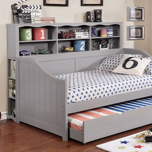 009DB Bookcase Daybed in Gray - Finish: Gray<br><br>Available in Dark Walnut Finish or White Finish<br><br>Trundle Optional<br><br>Foundation Required<br><br>Dimensions: 77 1/2