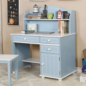 009HC Desk Hutch - Finish: Blue/White<br><br>Dimensions: 40 3/4