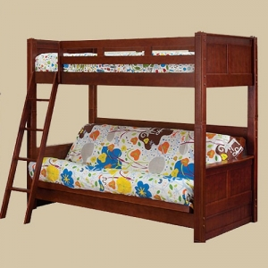 0101DP Twin Bunk with Futon Bed in Dark Pecan