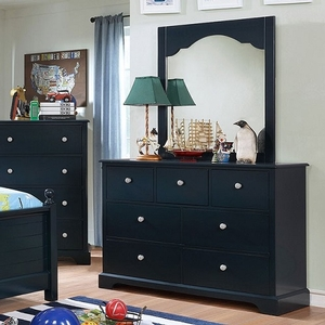 010M Mirror - Finish: Blue<br><br>Available in Cherry & Gray<br><br>Dresser Sold Separately<br><br>Dimensions: 32 1/4