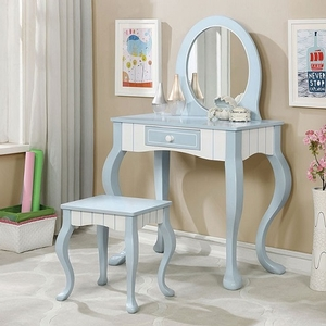 010V Elegant Country Style Vanity - Finish: Blue/White<br><br>Dimensions: Table: 34