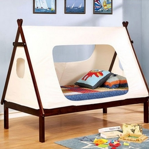 011TB Twin Tent Bed in White/Walnut - Color/Finish: White/Dark Walnut<br><br>Foundation Required<br><br>Dimensions: 81 3/8