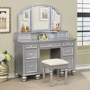 012V Vanity w/ Stool in Silver - Finish: Silver<br><br>