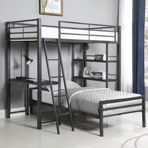012MLB Twin Workstation Loft Bed - Finish: Gunmetal<br><br>Slat Kit Included<br><br>Optional Twin Bed (Sold Separately)<br><br>Dimensions: 78.50
