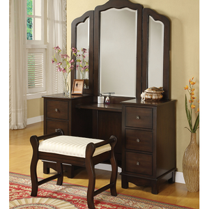 013M Vanity Mirror - Finish: Brown<br><br>Vanity Desk & Stool Sold Separately<br><br>Dimensions: 46 x 41