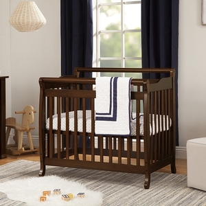 003MCRB Simple Slatted Mini Crib in Espresso - Finish: Espresso<br><br>Available in White & Black<br><br>Made in China<br><br>Assembly Required<br><br>Dimensions: 39.5