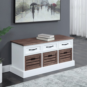 013SB Three Drawer Storage Bench - Finish: Weathered Brown/White<br><br>Available in Weathered Brown/White<br><br>Dimensions: 39.25W x 13.75D x 17.75H