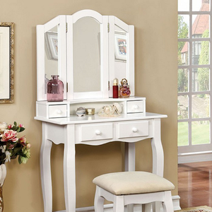 013V Elegant Vanity Set in White - Finish: White<br><br>Available in Pink<br><br>