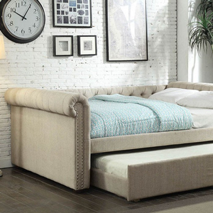 013DB Upholstered Queen Daybed w/ Trundle in Beige - Finish: Beige<br><br>Available in Gray Fabric<br><br>Available in Twin Size or Full Size Daybed<br><br>Slat Kit Included<br><br>Dimensions: 101