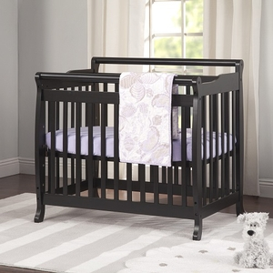 012MCRB Simple Slatted Mini Crib in Ebony Black - Finish: Ebony Black<br><br>Available in Espresso & White<br><br>Made in China<br><br>Assembly Required<br><br>Dimensions: 39.5