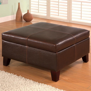 014SB Storage Ottoman - Finish: Dark Brown<br><br>Upholstery: Leatherette<br><br>Leg Finish: Brown<br><br>Dimensions: 28W x 28D x 15.50H