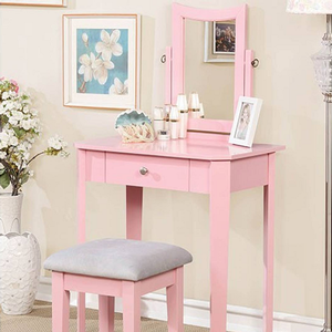 014V Classic Vanity Set in Pink - Finish: Pink<br><br>Available in White, Gray or Black Finish<br><br>