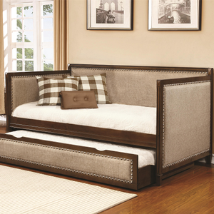 015DB Twin Upholstered Daybed w/ Trundle - Finish: Oat Meal/Rich Amber<br><br>Slat Kit Included<br><br>Dimensions: 80.50