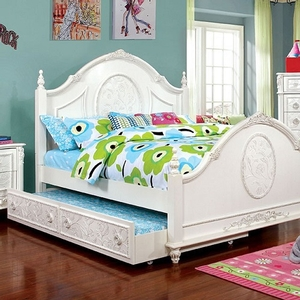 0164T Antique Style Twin Bed - Finish: Off-White<br><br>**Trundle Optional**<br><br>Foundation Required<br><br>Available in Full Size<br><br>Dimensions: 82 1/4