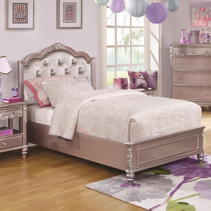 0166T Diamond Tufted Twin Bed  - Finish: Metallic Lilac w/ Metallic Lilac Leatherette<br><br>Available White w/ Pink Leatherette<br><br>Optional Storage<br><br>Available in Full Size<br><br>Dimensions: 41.5W  x  83.25D  x  50H