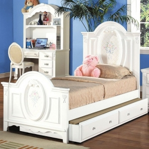 0909FB  Antique Style Floral Full Panel Bed  -  Finish: White<br><br>Available in Twin Size<br><br>*Trundle Sold Separately*<br><br>Box Spring Required<br><br>Dimensions: 81