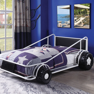 016TB Twin Race Car Bed in White / Black - Finish: White / Black<br><br>Available in Red, Yellow & White<br><br>No Box Spring Required<br><br>Dimensions: 79