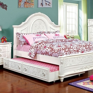 0046TB Taya Twin bed - Finish: Off-White<br><br>**Trundle Optional**<br><br>Available in Full Size<br><br>Foundation Required<br><br>Dimensions: 82 1/2