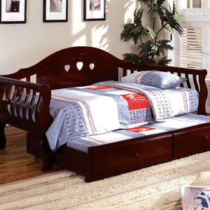 017DB Twin Daybed - Camel Style Curved Back<br><Br><b>Optional Twin Trundle</b><br><br>Heart-Shape Cutouts<br><br>Solid Wood<br><Br>