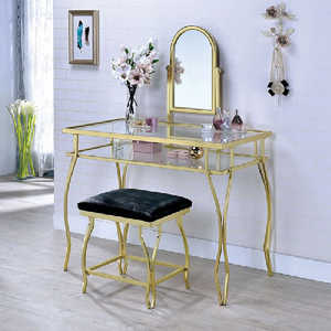 017V Metal Vanity Set in Champagne - Finish: Champagne<br><br>Available in Chrome<br><br>
