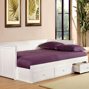 018DB Full Size Daybed W/ Drawers in White - Finish: White<br><br>Materials: Solid Wood<br><br>Available in Black<br><br>Dimensions: 79 3/4