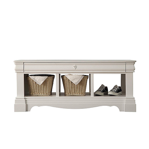 018SB Antique Style Storage Bench - Finish: White<br><br>Dimensions: 48