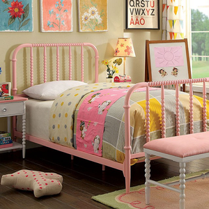 019FB Full Spindle Bed in Pink  - Finish: Pink<br><br>Foundation Required<br><br>Available in Twin Size Bed<br><br>Dimensions: 79 1/2