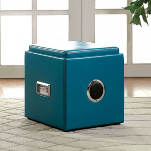 019SB Storage Ottoman w/ Bluetooth Speaker - Finish: Blue<br><br>Available in White, Pink, Green, Black & Red Finish<br><br>Dimensions: 16 1/4