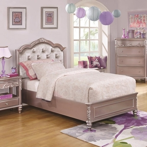 021FB Diamond Tufted Twin Bed - Finish: Metallic Lilac<br><br>Available White w/ Pink Leatherette<br><br>Optional Storage<br><br>Available in Full Size<br><br>Dimensions: 41.5W x 83.25D x 50H